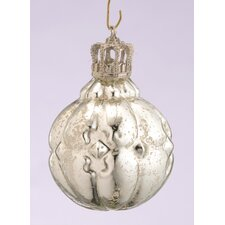 Glass Segmented Ball Ornament with Crown Cap