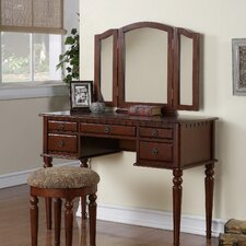 Bobkona St. Croix Bedroom Vanity Set with Stool in Cherry