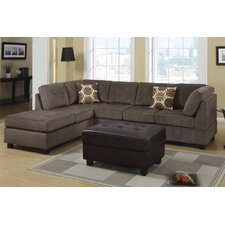 Bobkona Sectional Sofa and Ottoman Set