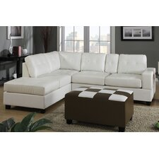 Bobkona Console Sectional Sofa and Matching Ottoman