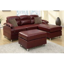 Bobkona Sectional Sofa with Ottoman