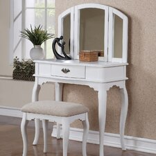 Bobkona Jaden Bedroom Vanity Set with Stool in White
