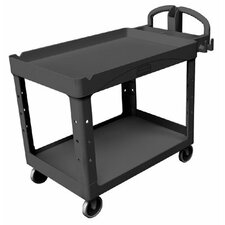 Rubbermaid Commercial - Heavy-Duty Lipped Shelves Utility Carts Hd Lipped 2-Shelf Utility Cart Large: 640-4546-10-Bla - hd lipped 2-shelf utility cart large