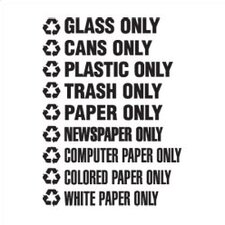 "Recyclable Waste White Decals (1.75""H x 13.5""W) (Set of 150)"