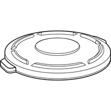 """1.8"""" x 19.88"""" Round Brute Flat Top Lid in White"""