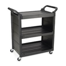 Service Cart with 3 Shelves in Black