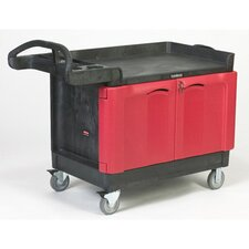 Trade Master Cart with 2-Door Cabinet in Black