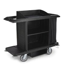 Full-Size Housekeeping Cart with 3 Shelves