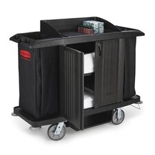 Full-Size Housekeeping Cart with 3 Shelves in Black