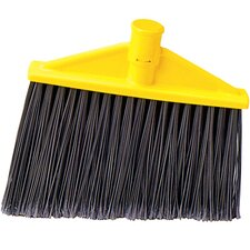 Threaded, Angled Replacement Broom Head in Gray and Yellow