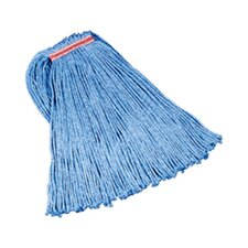 "Cut-End Blend Cotton/Synthetic Mop Heads with 1"" Headband in Blue (Set of 12)"