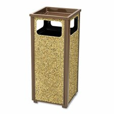 Aspen Outdoor Sand Urn/Litter Receptacle, Sq, Steel, 12gal, BN
