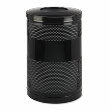 Open Top Receptacle, Round, Steel, 51gal, Black