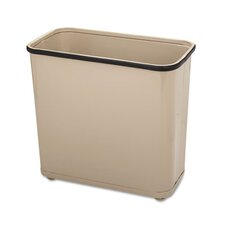 Fire-Safe Wastebasket, Rectangular, Steel, 7.5gal, Almond