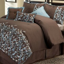 <strong>Victoria Classics</strong> Embroidered Leaves 8 Piece Comforter Set