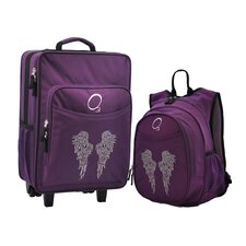 2 Piece Bling Rhinestone Angel Wings Kids Luggage and Backpack Set