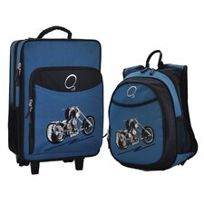 2 Piece Motorcycle Kids Luggage and Backpack Set