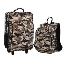 2 Piece Camo Kids Luggage and Backpack Set
