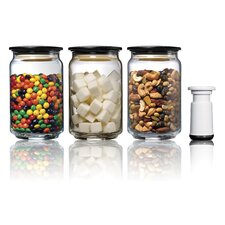 Vac 'n Save ColoPot Glass Vacuum Storage Container with Pump (Set of 3)