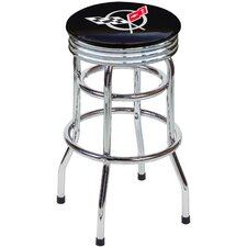 "Chevrolet Corvette C5 30.5"" Backless Chrome Swivel Barstool"