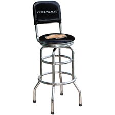 "Chevrolet Bowtie 30.5"" Chrome Swivel Barstool"