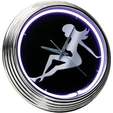 "<strong>On The Edge Marketing</strong> Lady Silhouette 14.75"" Neon Wall Clock"