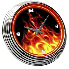 "Flames 14.75"" Fire Neon Wall Clock"