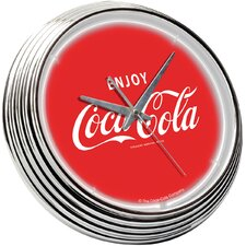 Coca Cola Neon Clock in Red / White