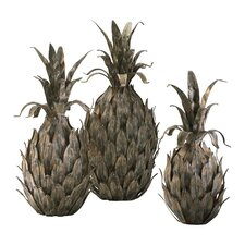 3 Piece Pineapple Sculpture Set