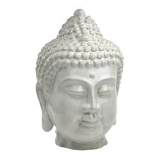 Thai Buddha Sculpture in Off White Glaze