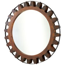 Landry Mirror in Raw Iron and Natural Wood