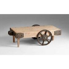 Wilcox Cart Table in Raw Iron and Natural Wood