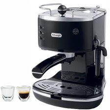 Icona 15-Bar Pump Driven Coffee/Espresso Maker and 2 Espresso Glasses