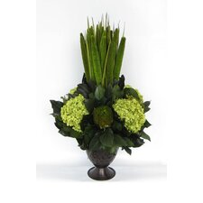 Metal Trophy Small Vase with Pensularia, Banksia and Hydrangea