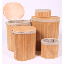 Baskets Oval Bamboo Linen Basket 5 PIece Set