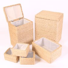 Square Rush Basket 6 Piece Set