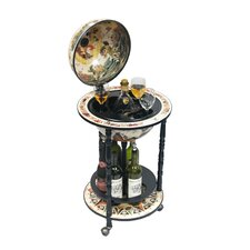 "Italian Style 13"" Floor Globe Bar White in Old World"