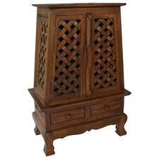 "Acacia 25"" Lattice Panels Storage Cabinet"