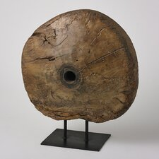 Antique Cart Wheel on Stand Sculpture