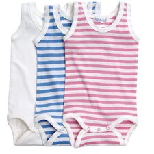 <strong>Under the Nile</strong> Classic Stripes Summer Babybody Baby Clothing in Rose Stripes