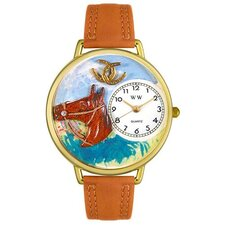 Unisex Horse Head Tan Leather and Goldtone Watch in Gold