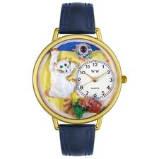 <strong>Whimsical Watches</strong> Unisex Bad Cat Navy Blue Leather and Goldtone Watch in Gold