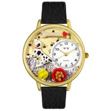 Unisex Dalmatian Black Skin Leather and Goldtone Watch in Gold