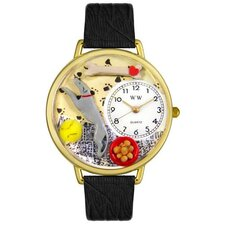 <strong>Whimsical Watches</strong> Unisex Greyhound Black Skin Leather and Goldtone Watch in Gold