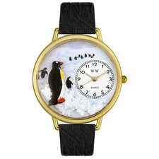 Unisex Penguin Black Skin Leather and Goldtone Watch in Gold