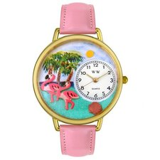 Unisex Flamingo Pink Leather and Goldtone Watch in Gold