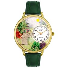 Unisex Elephant Hunter Green Leather and Goldtone Watch in Gold