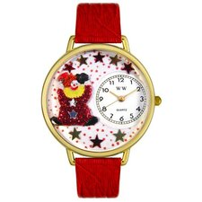 Unisex Red Star Clown Red Leather and Goldtone Watch in Gold