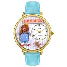 Unisex Doll Lover Baby Blue Leather and Goldtone Watch in Gold