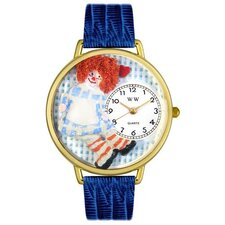 Unisex Vintage Raggedy Ann Royal Blue Leather and Goldtone Watch in Gold